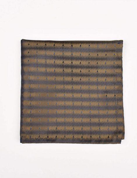 Copper-Metallic-and-Black-Striped-Pocket-Square